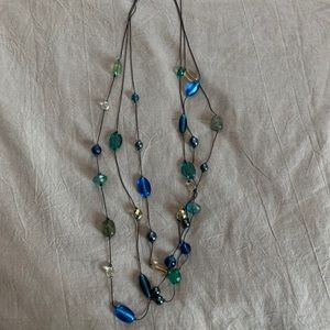 Lia Sophia blue and green beaded necklace